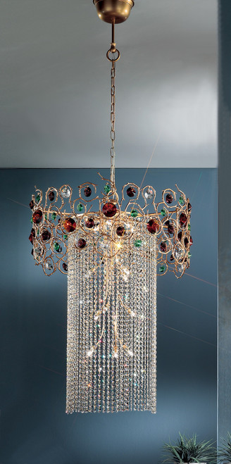 Classic Lighting 10036 NBZ AGAT Foresta Colorita Crystal Mini Chandelier in Natural Bronze (Imported from Portugal)