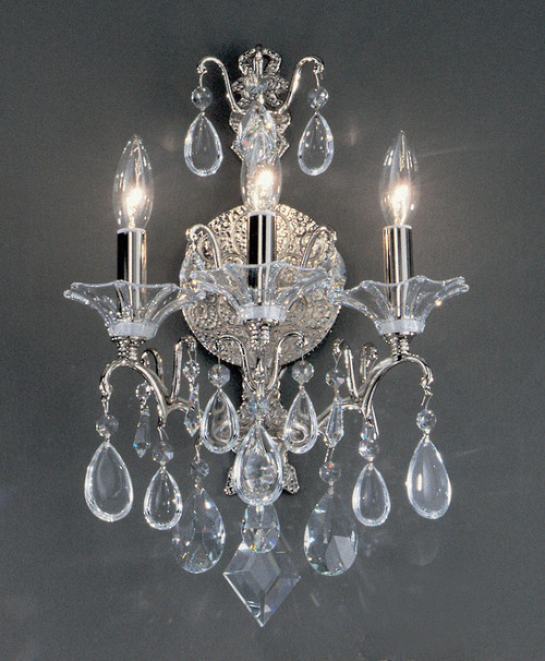 Classic Lighting 9055 CH CRD Garden of Versailles Crystal Wall Sconce in Chrome