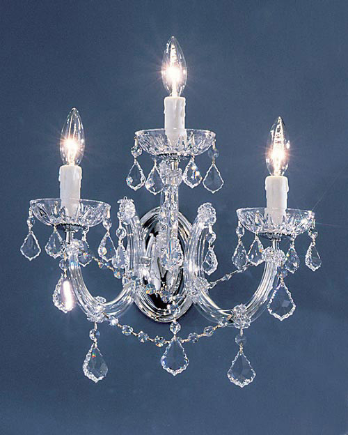 Classic Lighting 8343 GP CP Rialto Traditional Crystal Wall Sconce in Gold