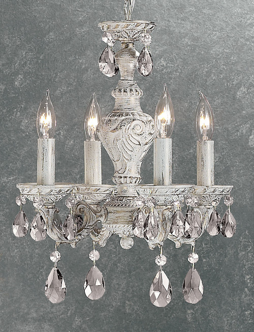 Classic Lighting 8334 AW C Gabrielle Crystal Mini Chandelier in Antique White