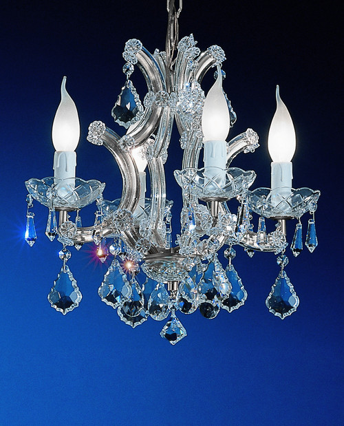 Classic Lighting 8194 CH C Maria Theresa Traditional Crystal Mini Chandelier in Chrome (Imported from Italy)