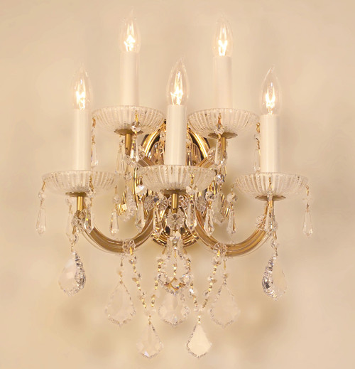 Classic Lighting 8105 OWG S Maria Theresa Traditional Crystal Wall Sconce in Olde World Gold (Imported from Italy)