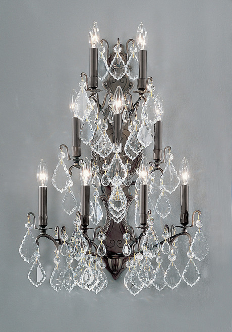 Classic Lighting 8003 AB Versailles Crystal/Cast Brass Wall Sconce in Antique Bronze