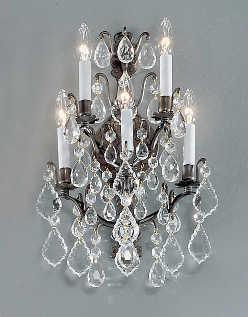Classic Lighting 8002 AB Versailles Crystal/Cast Brass Wall Sconce in Antique Bronze