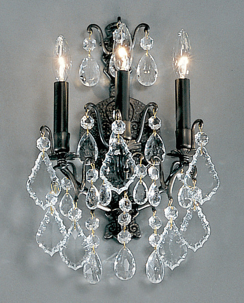 Classic Lighting 8001 AB Versailles Crystal/Cast Brass Wall Sconce in Antique Bronze