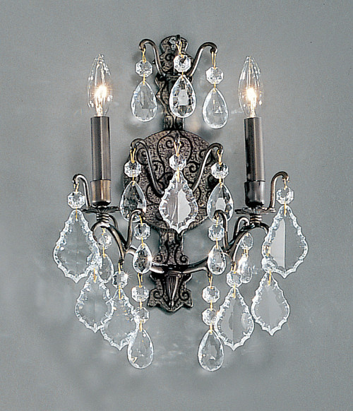 Classic Lighting 8000 AB Versailles Crystal/Cast Brass Wall Sconce in Antique Bronze
