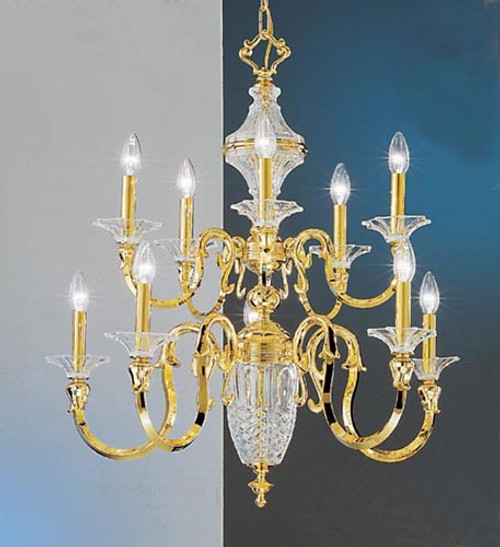 Classic Lighting 7545 Weatherford Glass Chandelier in 24k Gold (Imported from Spain)