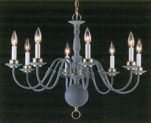 Classic Lighting 6768 V/PB Classic Willaimsburgs Traditional Chandelier in Verde with Polished Brass Accents