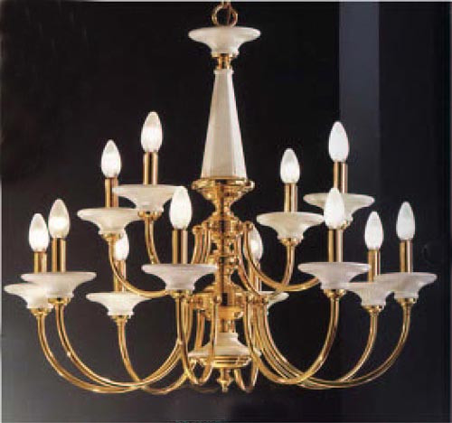 Classic Lighting 5989 W Ceramic Ceramic Chandelier in Polished Brass (Imported from Spain)