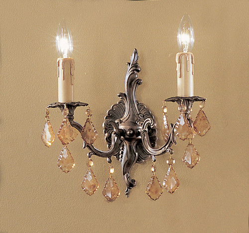 Classic Lighting 5752 AGB CP Parisian Crystal/Cast Brass Wall Sconce in Aged Bronze (Imported from Spain)