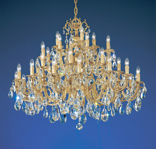 Classic Lighting 5736 SBB C Princeton Crystal/Cast Brass Chandelier in Satin Bronze/Brown Patina (Imported from Spain)
