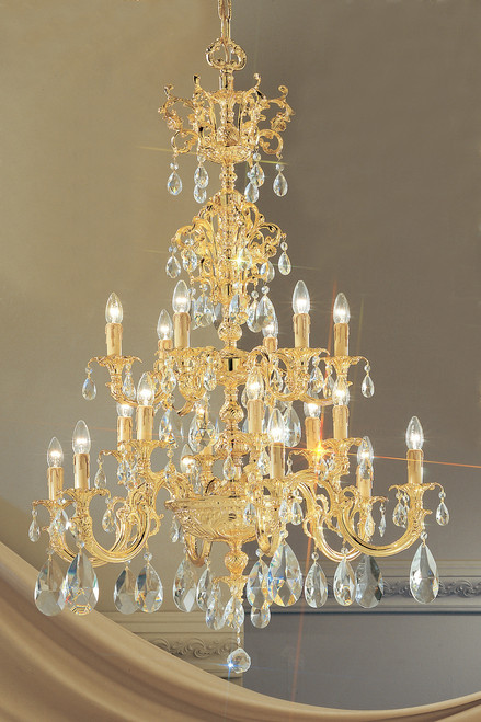 Classic Lighting 5718 G SC Princeton Crystal/Cast Brass Chandelier in 24k Gold (Imported from Spain)