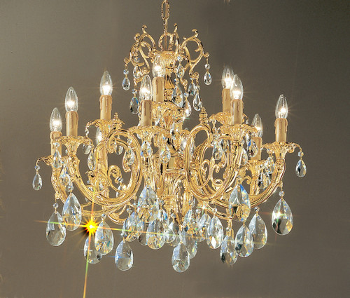 Classic Lighting 5712 G S Princeton Crystal/Cast Brass Chandelier in 24k Gold (Imported from Spain)