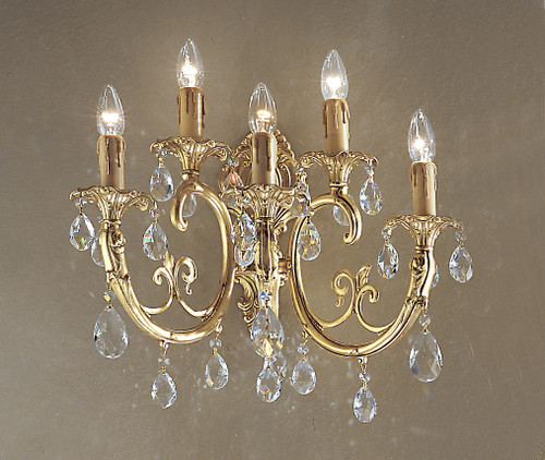 Classic Lighting 5705 SBB S Princeton Crystal/Cast Brass Wall Sconce in Satin Bronze/Brown Patina (Imported from Spain)