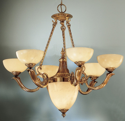 Classic Lighting 5667 ABZ Valencia Alabaster Chandelier in Antique Bronze (Imported from Spain)
