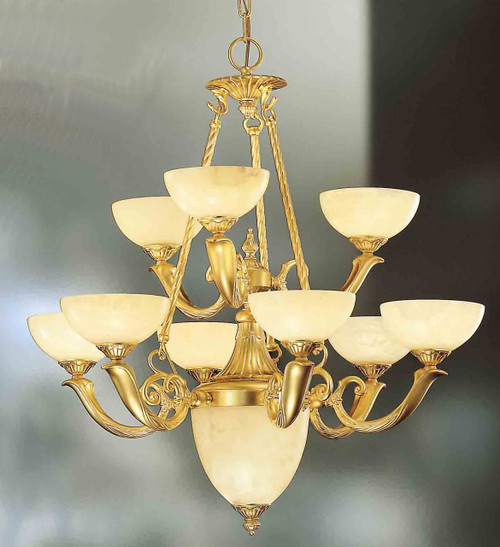 Classic Lighting 5666 GM Valencia Alabaster Chandelier in Matte Gold (Imported from Spain)