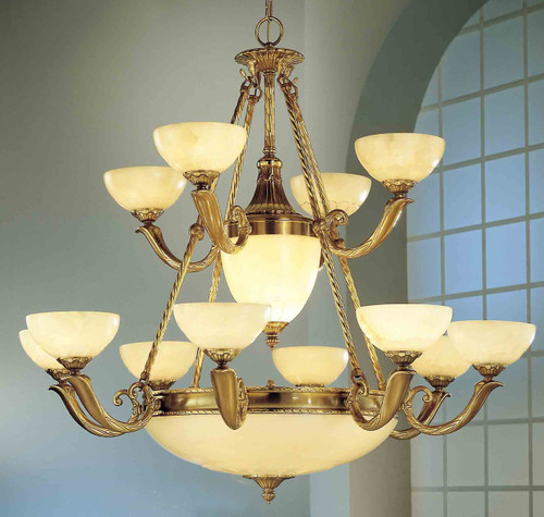 Classic Lighting 5664 ABZ Valencia Alabaster Chandelier in Antique Bronze (Imported from Spain)