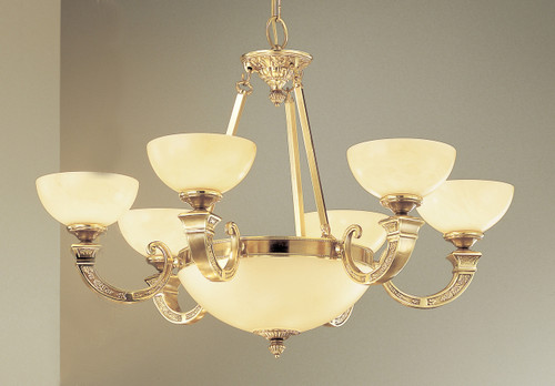 Classic Lighting 5628 ABZ Mallorca Alabaster Chandelier in Antique Bronze (Imported from Spain)