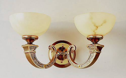 Classic Lighting 5622 ABZ Mallorca Alabaster Wall Sconce in Antique Bronze (Imported from Spain)