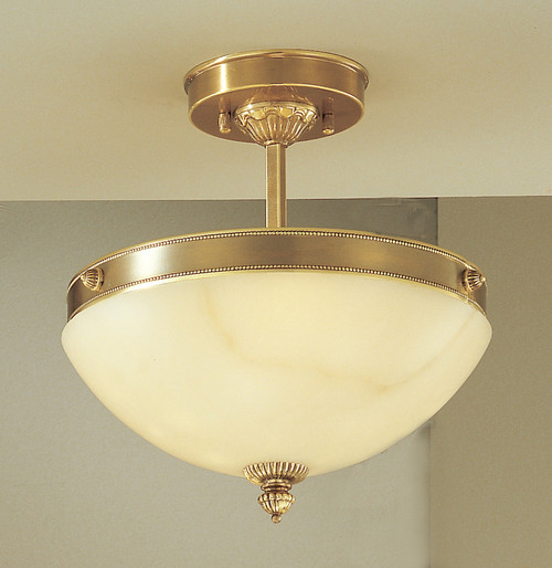 Classic Lighting 5620 ABZ Mallorca Alabaster Flushmount in Antique Bronze (Imported from Spain)