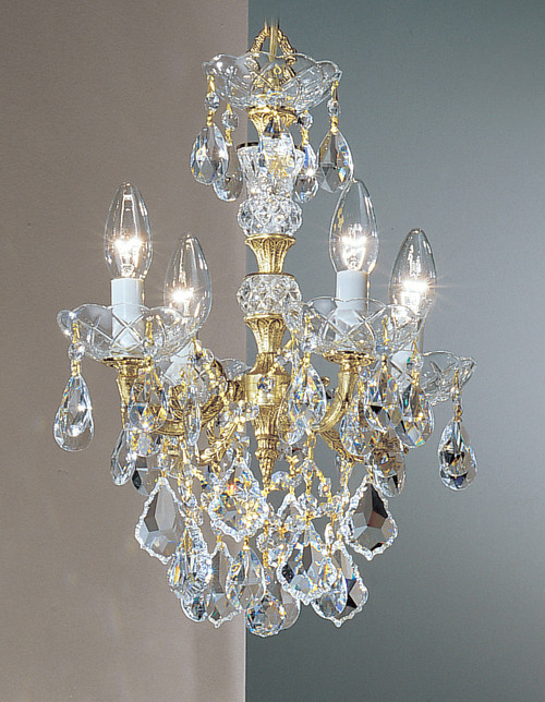 Classic Lighting 5544 OWB S Madrid Imperial Crystal/Cast Brass Mini Chandelier in Olde World Bronze (Imported from Spain)