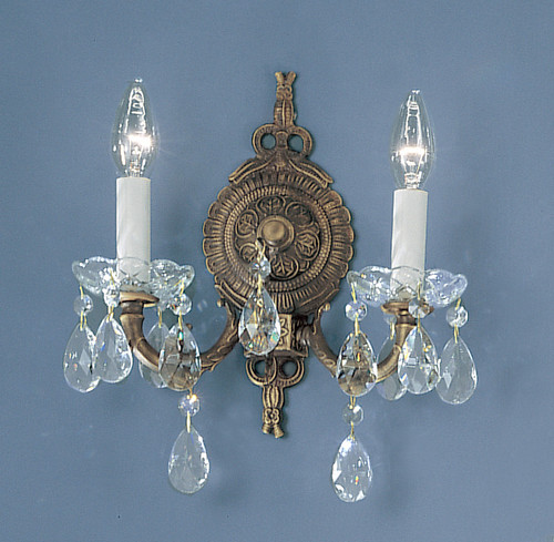 Classic Lighting 5532 RB C Madrid Crystal/Cast Brass Wall Sconce in Roman Bronze (Imported from Spain)