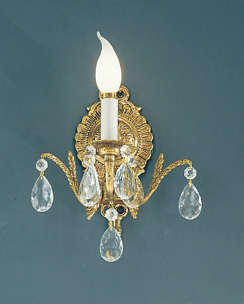Classic Lighting 5221 MS SC Barcelona Crystal/Cast Brass Wall Sconce in Millennium Silver (Imported from Spain)