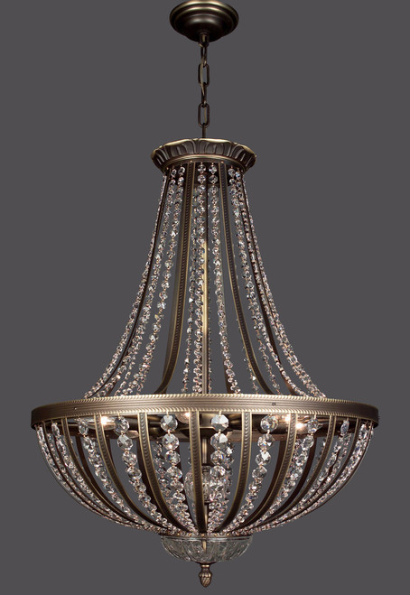 Classic Lighting 1925 RB SC Terragona Crystal Pendant in Roman Bronze (Imported from Spain)