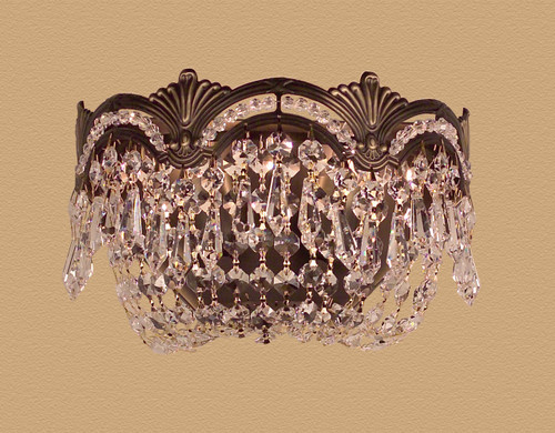 Classic Lighting 1850 RB CP Regency II Crystal Wall Sconce in Roman Bronze (Imported from Spain)