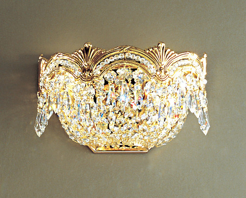 Classic Lighting 1850 G CP Regency II Crystal Wall Sconce in 24k Gold (Imported from Spain)
