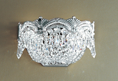 Classic Lighting 1850 CHB S Regency II Crystal Wall Sconce in Chrome/Black Patina (Imported from Spain)