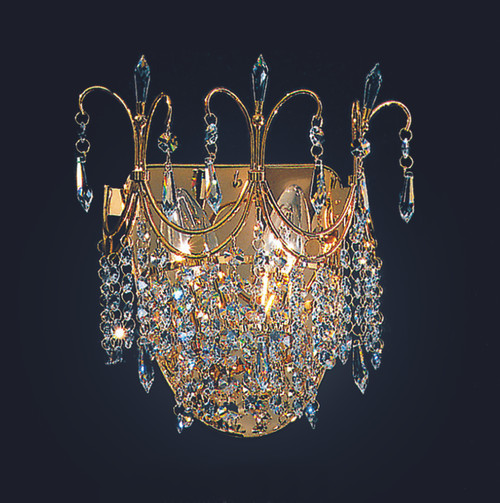 Classic Lighting 1755 CP Crown Crystal Wall Sconce in Chrome (Imported from Italy)