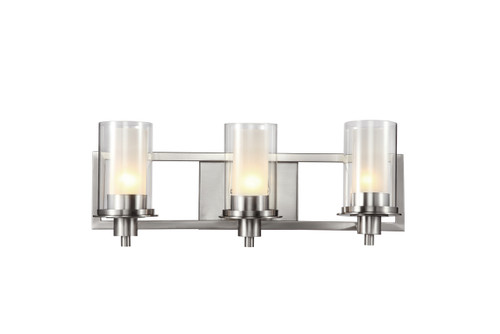 """Odyssey 22"""" Indoor Brushed Nickel Contemporary Vanity Bar with Modern Double Glass Shade"""