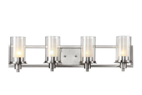 """Odyssey 30"""" Indoor Brushed Nickel Contemporary Vanity Bar with Modern Double Glass Shade"""