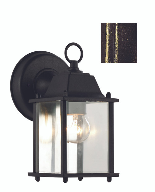"Trans Globe Lighting 40455 BG Patrician 8"" Outdoor Black Gold Traditional Wall Lantern"