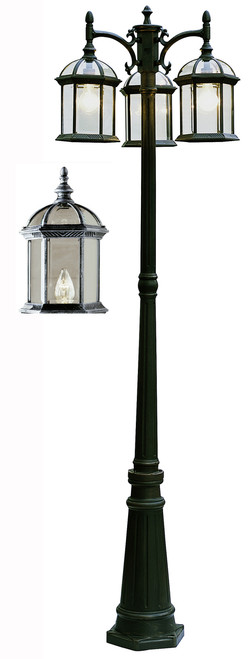 "Wentworth 79"" Outdoor Swedish Iron Traditional Pole Light"
