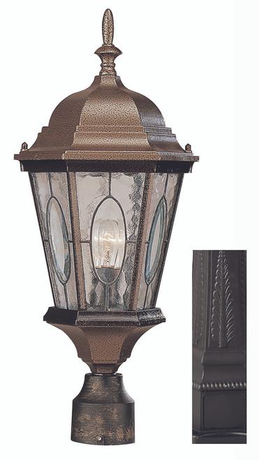 "Villa Nueva  22"" Outdoor Black Spanish Postmount Lantern"