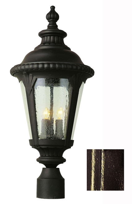 """Commons 24"""" Outdoor Black Gold Tuscan Postmount Lantern with Braided Crown Trim and Leaf Window Accents"""