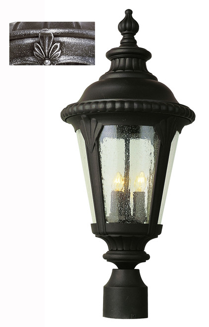 """Commons 24"""" Outdoor Swedish Iron Tuscan Postmount Lantern with Braided Crown Trim and Leaf Window Accents"""