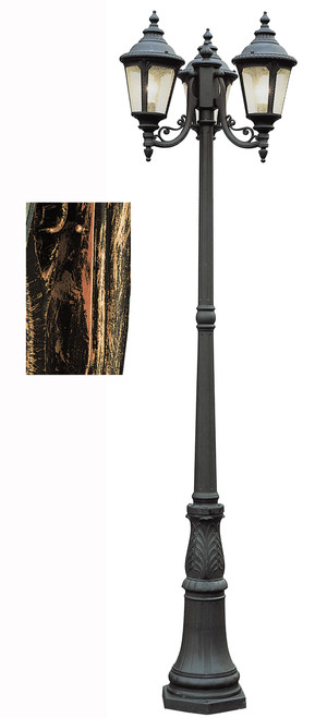 "Commons 84.5"" Outdoor Black Copper Tuscan Pole Light with Braided Crown Trim and Leaf Window Accents"