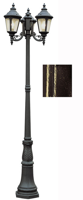 "Commons 84.5"" Outdoor Black Gold Tuscan Pole Light with Braided Crown Trim and Leaf Window Accents"