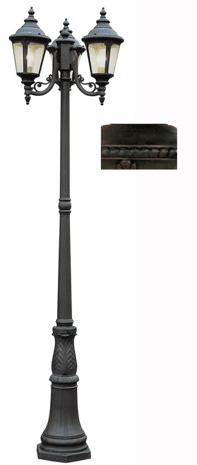 "Commons 84.5"" Outdoor Rust Tuscan Pole Light with Braided Crown Trim and Leaf Window Accents"
