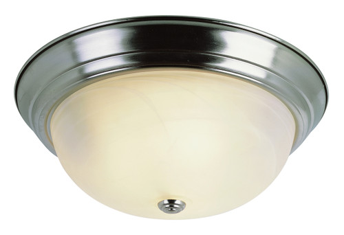 "Browns 13"" Indoor Brushed Nickel Traditional Flushmount with Frosted White Shade"