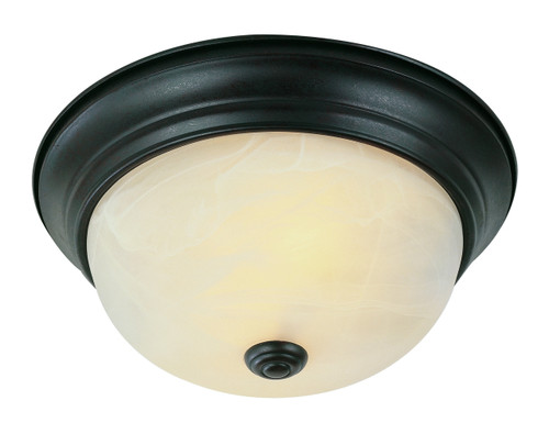 "Browns 13"" Indoor Rubbed Oil Bronze Traditional Flushmount with Frosted White Shade"