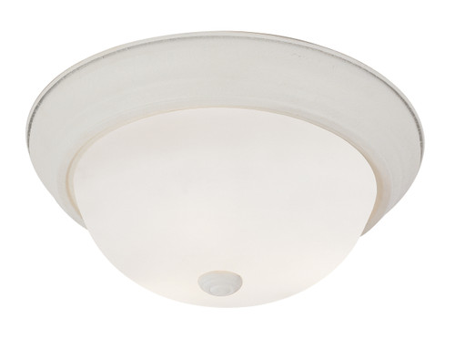 "Bowers 11"" Indoor Antique White Traditional Flushmount with Minimalist Design and White Frost Shade"