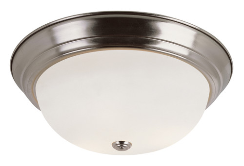 "Bowers 11"" Indoor Brushed Nickel Traditional Flushmount with Minimalist Design and White Frost Shade"