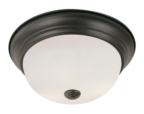 "Bowers 11"" Indoor Rubbed Oil Bronze Traditional Flushmount with Minimalist Design and White Frost Shade"