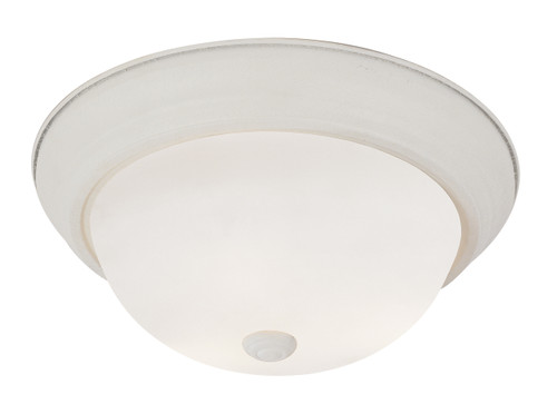 "Bowers 13"" Indoor Antique White Traditional Flushmount with Minimalist Design and White Frost Shade"