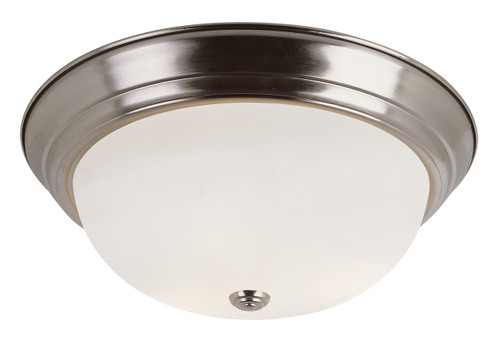 "Bowers 13"" Indoor Brushed Nickel Traditional Flushmount with Minimalist Design and White Frost Shade"