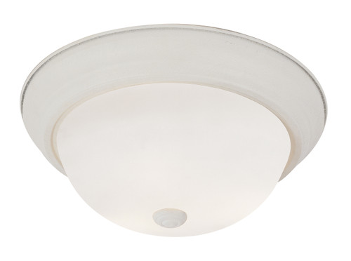 "Bowers 15"" Indoor Antique White Traditional Flushmount with Minimalist Design and White Frost Shade"